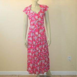 1990s Floral Midi Dress w/Criss Cross Back 6